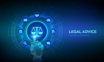 Labor law, Lawyer, Attorney at law, Legal advice concept on virtual. vector