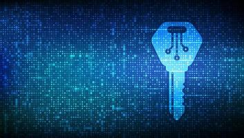 Digital key. Electronic key icon made with binary code. vector