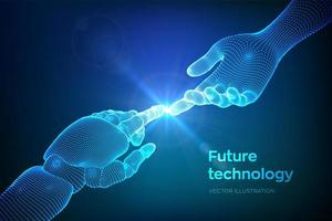 Hands of Robot and Human Touching. vector