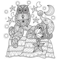 Teddy bear and owl sleeping hand drawn for adult coloring book vector