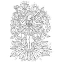 Beautiful angel hand drawn for adult coloring book vector