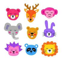 Cute hand drawn animal faces. Collection vector animals.