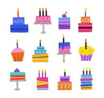 Birthday cakes with candles set. Hand drawn flat vector illustration.