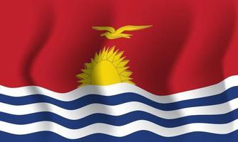 Waving Kiribati flag. Background for patriotic national vector