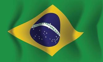 Waving Brazil flag. Background for patriotic national vector