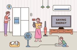 ahorro de energía para el medio ambiente vector