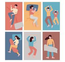 Sleeping people in different postures. vector