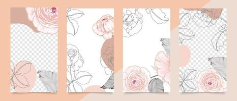 Cover template with pink rose line art. Floral background vector