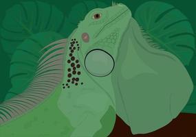 Ilustración de vector de lagarto reptil iguana verde