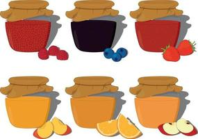Fruit and berry jam jar collection vector illustration