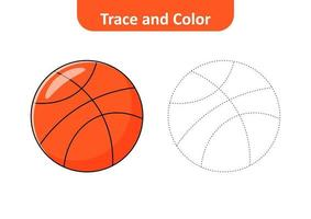 Trace and color for kids, basketball vector