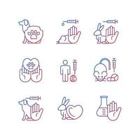 Stop animal testing gradient linear vector icons set