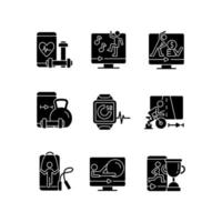 Online fitness training apps black glyph icons set on white space. vector