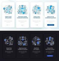 Internship overseas onboarding mobile app page screen vector