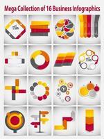 mega colección concepto de negocio de plantilla de infografía vector