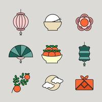 Happy Chuseok Festival Icon Set vector