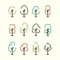 plantilla de conjunto de iconos de árbol simple vector