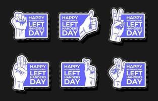 Happy Left Handers Day Sticker Pack Set vector