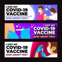 After Covid19 Vaccine Banner Template Set vector
