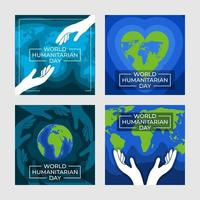 World Humanitarian Day Card Set Template vector