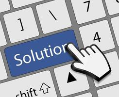 Keyboard solution button with mouse hand cursor vector illustrat