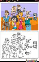 cartoon people with smart phones coloring book page vector