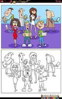 cartoon people with phones and devices coloring book page vector