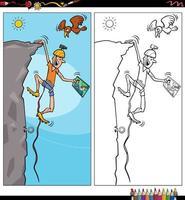 cartoon climber character coloring book page vector
