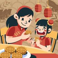 Mom and Daughter Eating Mooncake vector