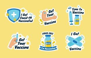 dibujado a mano después de la etiqueta engomada de la vacuna covid-19 vector