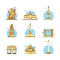 Indonesia Landmark Icon Pack vector
