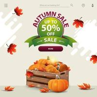 Autumn discount template for website with wooden crates of pumpkins vector