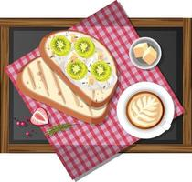 Bruschetta with a cup of coffee on wooden tray isolated vector
