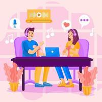 concepto de conversación de podcast vector