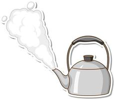 A sticker template of a kettle with boiling water isolated vector