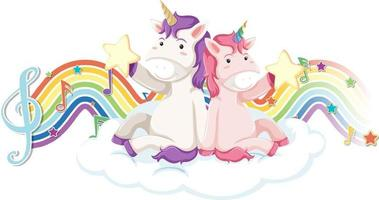 Unicorn sitting on the cloud with melody symbols on rainbow wave vector