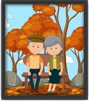A picture of an old couple at the park in autumn season vector