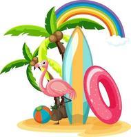 Summer beach icons on Island isolated vector