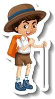A sticker template with a boy cartoon character vector