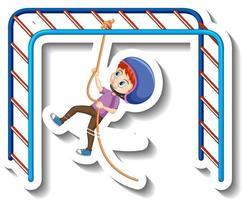 A boy hanging on rope cartoon sticker vector