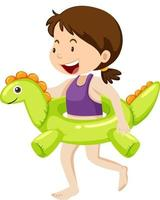 Cute girl with dinosaur swimming ring isolated vector