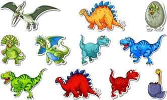 Sticker set with different types of dinosaurs cartoon characters vector