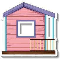 A small pink wooden house isolated vector