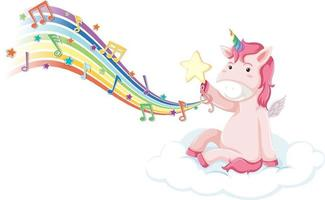 Pink unicorn sitting on the cloud with melody symbols on rainbow vector