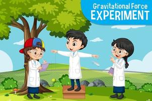 Gravitational force experiment with scientist kids cartoon character vector