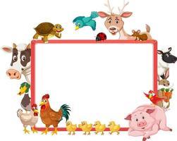 Banner vacío con varios animales de granja. vector