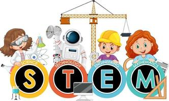 STEM education logo banner with kids cartoon character vector