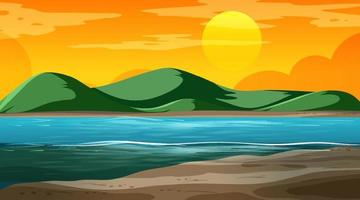 Blank nature landscape at sunset time scene with mountain background vector