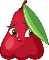 Rose apple cartoon character with facial expression vector