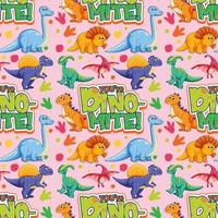 Seamless pattern with cute dinosaurs and font on pink background vector
